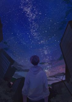 Beautiful art anime boy ideas for 2019 Aesthetic Art, Aesthetic Anime, Anime Galaxy, Sky Anime, Scenery Wallpaper, Cover Wallpaper, Wow Art, Anime Scenery, Digimon