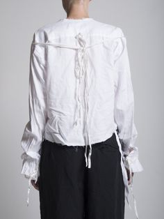 Elena Dawson Crop Cotton Collarless Shirt with Exaggerated Ruffled Cuffs and Ties across the back