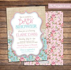 Shabby Chic Baby Shower Invite | Floral Burlap and Lace | Printable | Gender Neutral Baby Shower Invitations for Boy or Girl | Baby Sprinkle