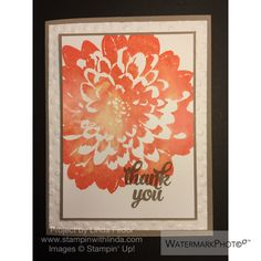 Thank You Water Color Dahlia Card Using Stampin' Up! Definitely Dahlia & Tin of Cards Stamp Sets/ www.stampinwithlinda.com