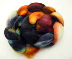 Gasoline Rainbow  Hand Dyed Roving  Spinning by DyeabolicalYarns (Craft Supplies & Tools, Fiber & Textile Art Supplies, Yarn & Roving, Roving, wool, dyeabolical, Hand Painted, spinning fibers, hand dyed roving, hand painted roving, handpainted, roving, combed top, dyed wool, hand dyed wool, fiber, felting)