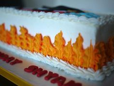 Leaf tip for flames, firefighter cake (Piping)