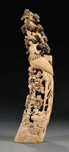 Chinese th c carved ivory reticulated brush pot