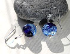 Blue Ocean Waves Glass Bead Sterling Silver OR Titanium Earrings, Handmade, Lampwork Jewelry, Glass Jewelry, Handmade by Marianne Degener by MarianneDegener on Etsy
