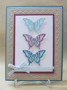 Elegant Butterfly Trio card with embossing (Framed Tulips) SU
