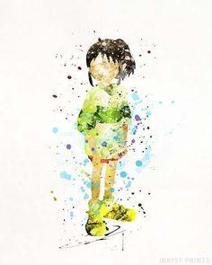 Chihiro, Spirited Away Ghibli Watercolor Print. Prices from $9.95. Available at InkistPrints.com - #ghibli#christmasgift#studioghibli#miyazaki#giftforher #SpiritedAway #Chihiro