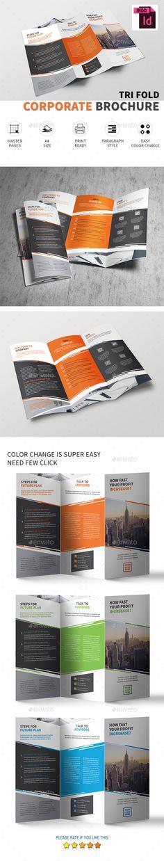 Tri-fold brochure Vol.4 - #Corporate #Brochures Download here: https://graphicriver.net/item/trifold-brochure-vol4/19417348?ref=alena994