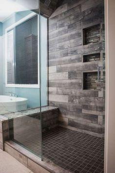 Wood Tile Shower, Wood Bathroom, Bathroom Flooring, Bathroom Interior, Modern Bathroom, Master Bathroom, Bathroom Ideas, Bathroom Showers, Tile Showers