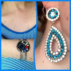 Blue pinstripe top from Millers, chain store earrings