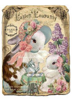 Easter Art, Easter Crafts, Easter Bunny, Vintage Cards, Vintage Postcards, Vintage Images, Illustrations Vintage, Foto Transfer, Easter Pictures