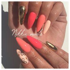 Apricot nails, orange nails, gold foil nails, longe nails, almond nails, stilleto