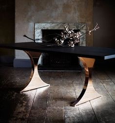 Our gorgeous Paris - an uncomplicated and strong table - stunning piece of solid timber or marble on two elegant and sensuous pedestals, both shaped to our Capricorn silhouette.