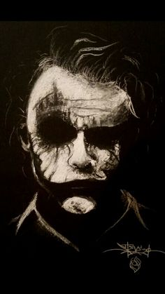 Clever use of white charcoal to produce the form of the joker. The image plays with the idea of positive/negative space due to the overall black background that might be perceived as charcoal, but really is just black paper. Der Joker, Heath Ledger Joker, Joker Art, Charcoal Sketch, Charcoal Art, White Charcoal, Charcoal Drawings, Joker Images, Joker Pics