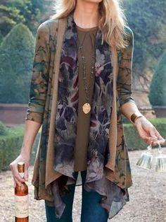 Women Coffee Floral Vintage Long Sleeve Cotton Sweaters, Coffee / S Floral Vintage, Blouse Vintage, Vintage Cotton, Plus Size Casual, Sweater Shop, Cotton Sweater, Types Of Sleeves, Casual Shirts, Clothes