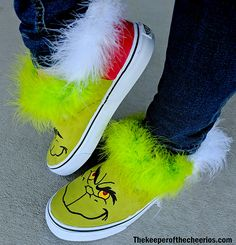 DIY Grinch Shoes - The Keeper of the Cheerios Christmas Craft Show, Christmas Shoes, Holiday Shoes, Grinch Christmas, Christmas Stuff, Holiday Fun, Holiday Ideas, Christmas Ornaments, Holiday Decor