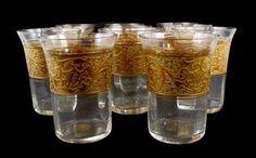 Becher, Wasserglas mit orplastischen Dekor, Haida, Johann Oertel & Co
