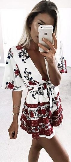 #summer #young #outfits |  Floral Playsuit