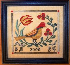 This is a listing of a cross stitch pattern in a PDF format.  Fraktur Bird 1 is part of a series of Fraktur Bird designs. Design size is 87w x 87h stitch count (5-3/4 x 5-3/4) stitched on R&R, 30 count, Kansas City Blend. Floss used are by Weeks Dye Works: Bright Leaf, Blue Spruce, Charcoal, Hunter, Scuppernong, Whiskey, Dutch Iris, Louisiana Hot Sauce. 1 Skein needed to complete this design. You provide the fabric and floss. The chart is in color.  An Alphabet chart is included...