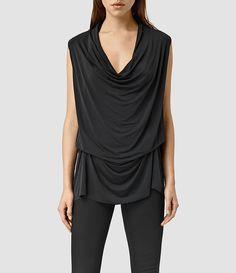 Womens Amei Sleeveless Top (Black) - product_image_alt_text_1