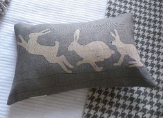 hand printed blue grey triptyque hare cushion by helkatdesign, $74.00