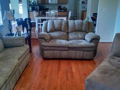 """Here is my family room finished to match the rest of the house. Nice work...Thank you so much for a job well done."" [Butterscotch Oak]"