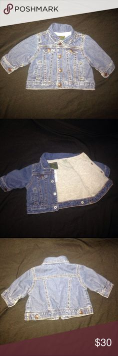 Baby gap jean jacket Very cute newborn jean jacket! It has a really soft fabric on the inside for comfort. My baby loved it! As you can see in the last picture! ❤️🌹 GAP Jackets & Coats Jean Jackets