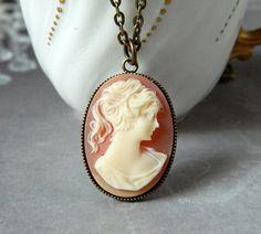 Cornaline camée pendentif Dame victorien femme camée collier Silhouette Cameo Jewelry
