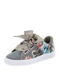 cbcaffc8b674 PUMA Basket Heart Platform Embroidery Sneakers Floral Print Black White