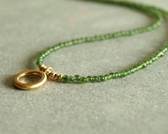 Green Jade Necklace with Gold Circle Drop, small jade beads, 14K gold vermeil circle charm, tiny bead necklace, natural genuine jade jewelry