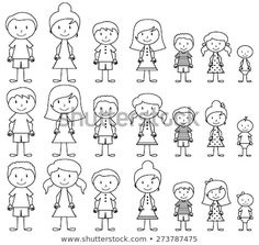 Set of Cute and Diverse Stick People in Vector Format, strokes expanded but image not flattened so different aspects of each person can be easily altered - stock vector Stick Figure Family, Stick Family, Les Doodle, Doodle Art, Family Drawing, Drawing For Kids, Kids Vector, Free Vector Art, Fourth Of July Crafts For Kids