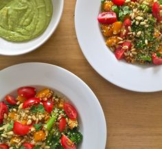 Roasted squash and pine nut quinoa with cherry tomatoes, broccoli and avocado cream