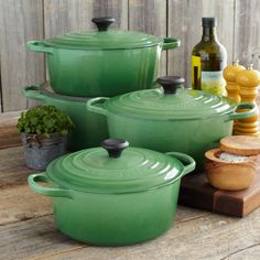 Love this green Le Creuset set - I can't wait for the day when I have a normal non BK railroad kitchen