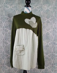 Women's Upcycled Boho Shirt Shabby Chic Romantic Funky Bohemian Gypsy Style Medium/Large EcoFriendly Repurposed Lagenlook - Upcycled Crafts Bohemian Gypsy, Gypsy Style, Hippie Style, Style Nomade, Turtleneck Shirt, Cute Tops, Refashion, Diy Clothes, Shabby Chic
