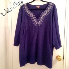 "White Stag Stretchy Crepe Tunic White Stag Stretchy Crepe Tunic, 3/4 Sleeves, embroidery at collar. Size 4X or 26/28. Length: 32"". Color: Navy blue with white embroidery. Slight pilling at bottom, see photo, hard to notice. In very good condition, super comfy and flattering.   #plussize White Stag Tops Tunics"