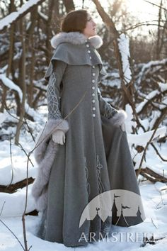 Exclusive fantasy fashion design coat Heretrix of the Winter for sale. Available in: ivory wool, grey wool, lilac wool, silver , gold :: by medieval store ArmStreet Medieval Fashion, Medieval Dress, Medieval Clothing, Moda Mormon, Coat Dress, Dress Up, Fashion Beauty, Womens Fashion, Fashion Trends