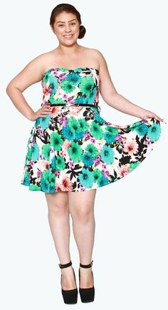 896ab4ed2b0 Libian Jr Plus Size Colorful Floral Tube Scuba Knit Dress with Belt at Amazon  Women s Clothing store