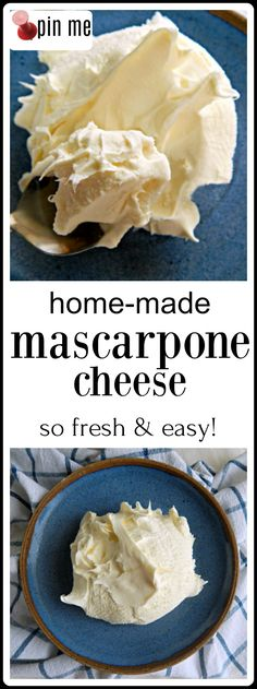 It only takes a few minutes work (and an overnight strain) for the best, creamiest, dreamiest Homemade Mascarpone Cheese imaginable. Recipes With Mascarpone Cheese, Cheese Recipes, Gourmet Recipes, Dessert Recipes, Cooking Recipes, Gourmet Foods, Milk Recipes, Keto Desserts, Plated Desserts