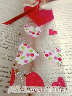 Un lindo regalo para San Valentin: Marcapáginas hechos por los niños paso a paso {Bookmarks craft}