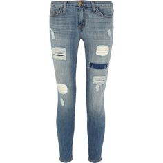 Current/Elliott The Stiletto distressed low-rise skinny jeans (445 BRL) ❤ liked on Polyvore featuring jeans, pants, bottoms, light denim, destroyed skinny jeans, cropped jeans, ripped blue jeans, skinny fit jeans and blue jeans