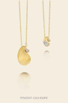 Pendenti Cachemire in oro 18kt con pavè di diamanti