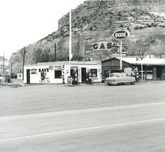 Ed Ruscha, Dixie, Lupton, Arizona, 1962 (printed Photograph: Loan courtesy the artist/The Autry. Old Route 66, Route 66 Road Trip, Historic Route 66, Old Gas Stations, Filling Station, Retro Renovation, Bronze, Easy Rider, Vintage Photographs