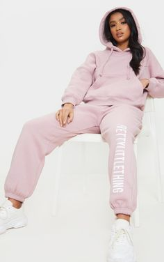 Pretty Little Thing Clothing, Dusty Pink, Pale Pink, Sweatpants Outfit, Pink Ties, Pink Sequin, Petite Size, Slogan, Joggers