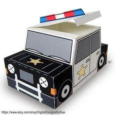 Plucky Police Car https://ift.tt/2Fe2rcH #police #patrol #hero #sheriff  #blackandwhite #printable #giftbox