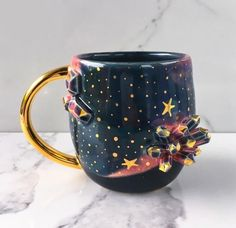 Galaxy Crystal Mug Geode Mug With Gold - Heaven and Earth - by Naomi Singer, Modern Mud - vaisselle Album Design, Stars Disney, Ceramic Cafe, Accessoires Barbie, Passion Deco, Cute Cups, Cool Mugs, Mug Cup, Tea Set