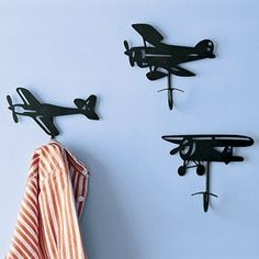 Airplane wall hooks for an aviation themed nursery or kid's room Aviation Nursery, Aviation Decor, Airplane Decor, Boys Airplane Bedroom, Bedroom Themes, Kids Bedroom, Nursery Themes, Themed Nursery, Baby Boy Rooms
