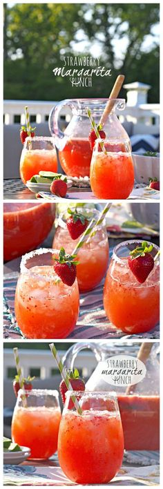 Strawberry Margarita Punch! SO EASY and delicious.  Make this for every BBQ! Favorite #cocktail ever. - The Cookie Rookie