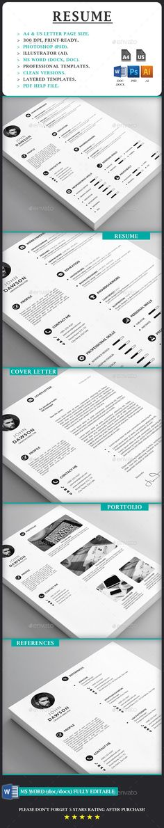 Resume Cv template, Resume cv and Simple resume template - cover for resume