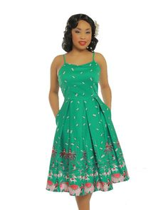 Lindy Bop Evelyn Dress in Green Circus