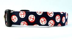 ALL ABOARD! Check out this Anchors Away Red White and Blue Dog Collar! HOW COOL! #nautical