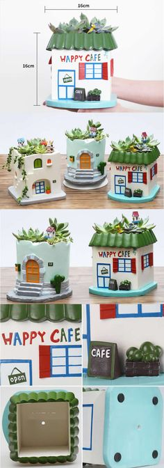 House building Succulent Planter Flower Pot Pen Pencil Holder Office Desk Stationery Organizer